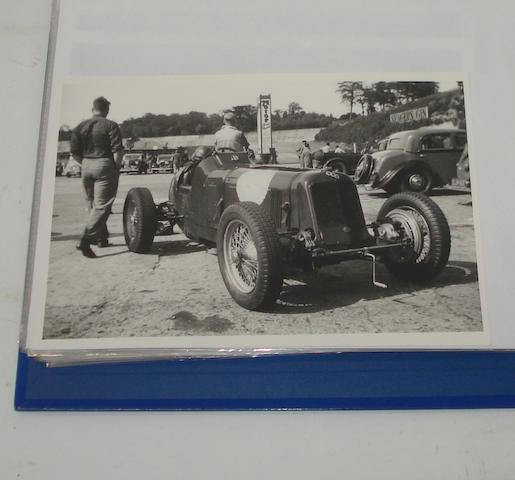 A folder of photographs relating to pre and post-War ERA cars,