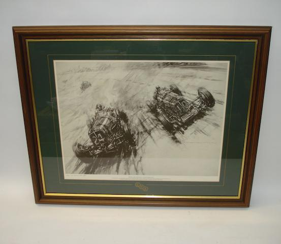 'Brooklands 1938: BRDC 192-Mile Road Race', print after F Gordon Crosby signed by Narisa Chakrabongse,