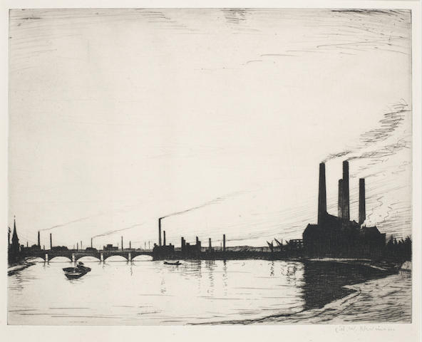 Christopher Richard Wynne Nevinson A.R.A. (British, 1889-1946) Chelsea Reach Power Stations The rare drypoint, 1921, a good impression, on laid, signed in pencil, with margins, 275 x 353mm (10 7/8 x 14in)(PL)
