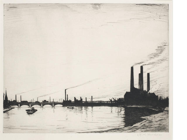 Christopher Richard Wynne Nevinson A.R.A. (British, 1889-1946) Chelsea Reach Power Stations  Drypoint, 1921, on laid, signed in pencil, with margins, 320 x 455mm (12 5/8 x 18in)