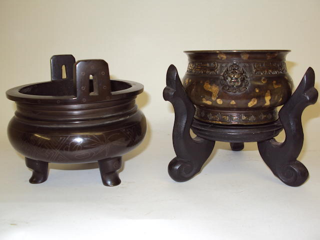 Two 19th century Chinese bronze incense burners