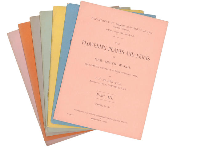 MAIDEN (JOSEPH HENRY) and W.S. CAMPBELL The Flowering Plans and Ferns of New South Wales, with Especial References to their Economic Value. Department of Mines and Agriculture (Forest Branch) New South Wales, original parts 1-7 (all published), 1895-1898