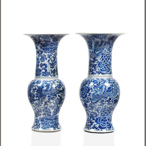 Two similar Chinese blue and white vases, 18th century