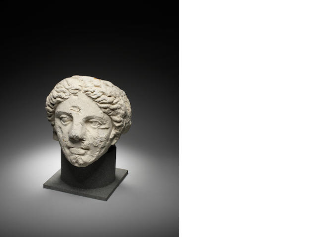 A large Graeco-Roman stucco head of a goddess