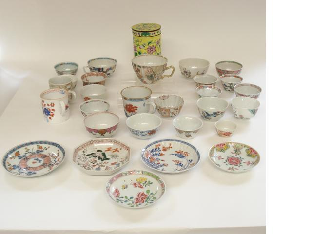 A collection of enamelled teawares 18th/19th century