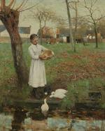 Walter Frederick Osborne RHA, ROI (Irish, 1859-1903) Feeding the chickens