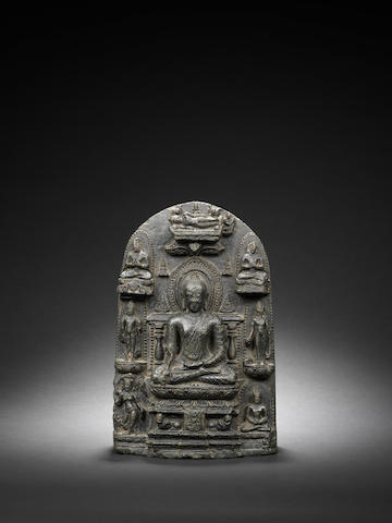 A black stone stele of Buddha, Pala Period, Northeastern India, 10th Century