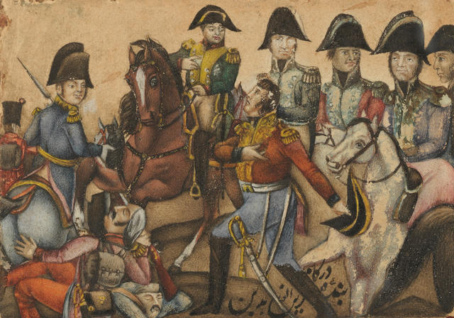 A small Qajar lacquer painting depicting a British officer surrendering to the Emperor Napoleon and his marshals, signed by Zain al-Abidin Persia, second half of the 19th Century