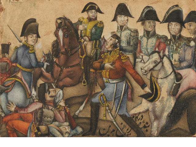 A small Qajar lacquer painting depicting the Emperor Napoleon with his marshals, signed by Zain al-Abidin  Persia, 19th Century - to be dated more precisely