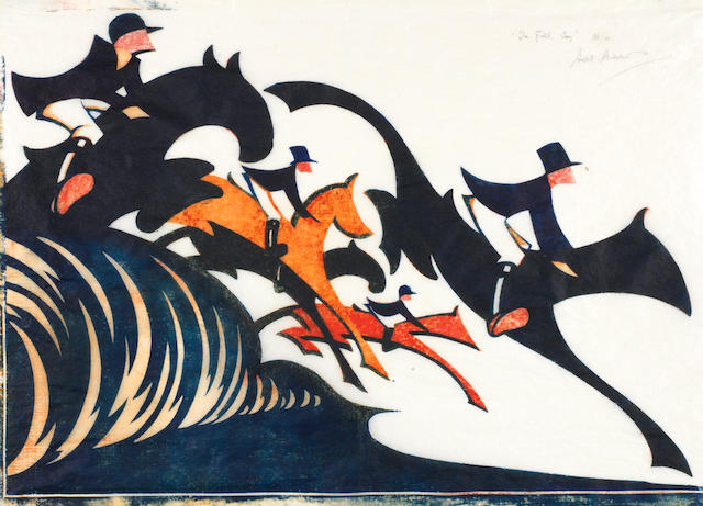 Sybil Andrews, CPE (British/Canadian, 1898-1993) In Full Cry (SA 13) Linocut printed in Chinese orange, spectrum red and prussian blue, 1931, on thick oriental laid tissue, signed, titled and numbered 36/50 in pencil, with margins, 361 x 466mm (14 1/4 x 18 1/4in) (SH) (unframed)
