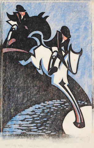 Sybil Andrews, CPE (British/Canadian, 1898-1993) Water Jump Linocut printed in spectrum red, pale cobalt blue and black, 1931, on thin cream oriental laid paper, signed, titled and numbered 30/60 in pencil, with margins, 312 x 213mm (12 1/4 x 8 3/8in)(B)(unframed)