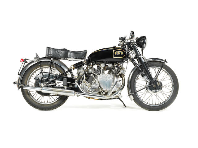 A Vincent HRD motorcycle, Reg No. LKK 581 (battery in box),