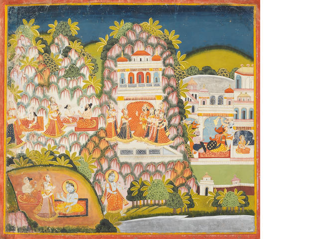 An illustration to the Siva Rahasya: the revelation of Siva's son Skanda to the sage Jagishavaya Jodhpur, circa 1827