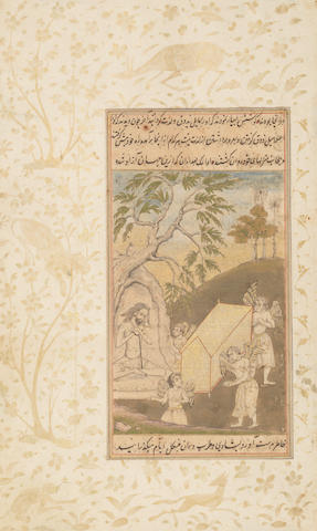 Two pages from a manuscript of the Yog Basisht: the brothers Punya and Pavana seated by the Ganges; the sage Uddalaka rejects transport to heaven Sub-Imperial Mughal, circa 1650(2)