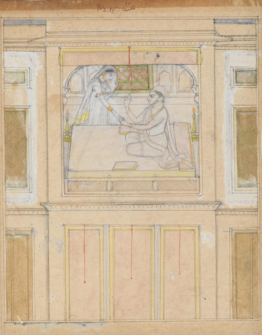 A prince and a lady in a palace chamber Kangra, circa 1800