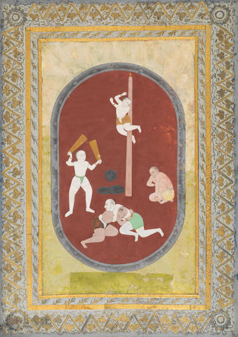 Desakhya Ragini: athletes exercising Deccan, 18th Century