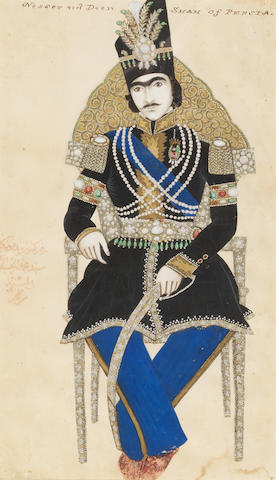 A portrait of Nasr-al-Din Shah Qajar (reg. 1848-96), seated on a chair, signed by Sayyid Muhammad al-Husaini al-Imami Persia, dated AH 1265/AD 1849