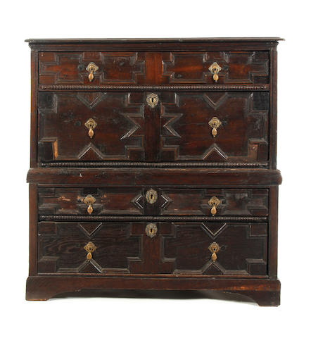 A Charles II and later oak geometric moulded chest of drawers,