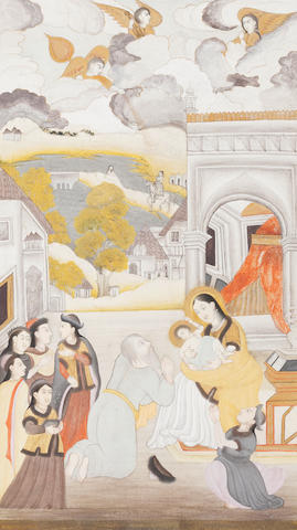 Lucknow, India, circa 1760, attributed to Mir Kalan Khan The Madonna and Child worshipped in a landscape, female attendants nearby, a landscape beyond, after a European print, in a modern mount simulating a contemporary album page with gold-sprinkled borders gouache and gold on paper 17 x 9cm