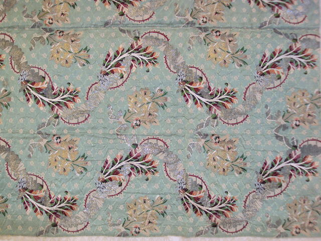 A mid-18th century silk and silvered metal thread floral brocade panel