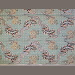 A mid 18th century silk and silvered metal thread floral brocade panel