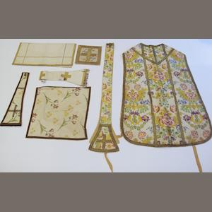 A brocade chasuble  woven with flowering foliage