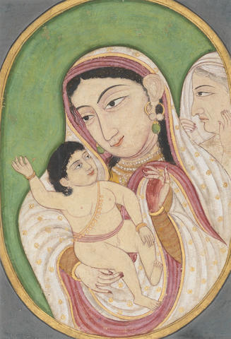 A mother cradling her child, an elderly woman in the background Rajasthan, possibly Mewar, early 19th Century