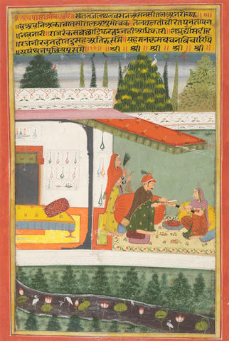 Malkos raga: a prince seated under a canopy on a pavilion terrace receiving offerings from a maiden seated before him, a female attendant waving a gauri standing to the left Amber, circa 1709