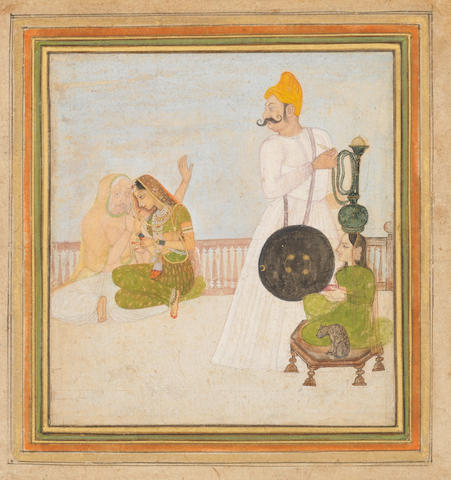 A moustachioed prince smoking a hookah on a terrace in the company of two maidens and an elderly confidante Kishangarh, circa 1780