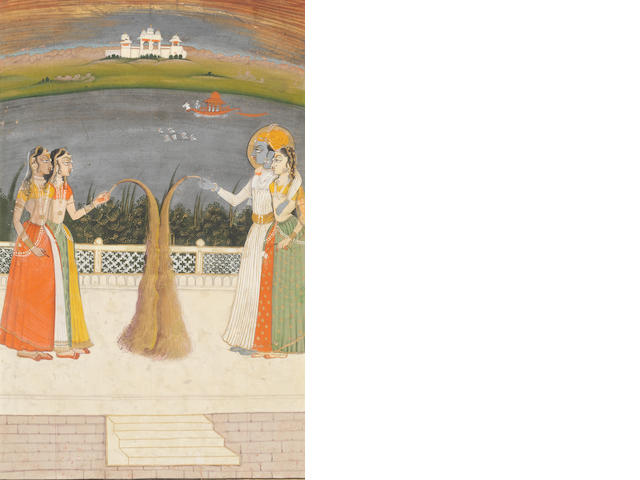 A prince with maidens on a lake terrace playing with fireworks Kishangarh, ...
