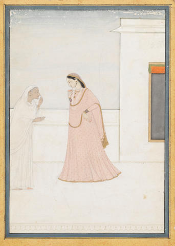A maiden on a balcony with an elderly female confidante Guler/Kangra..., early 19th Century