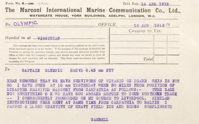 TITANIC DISASTER—MARCONI MESSAGES #32-37. A group of six Marconi messages from the R.M.S. Olympic radio log book, 6 pp,
