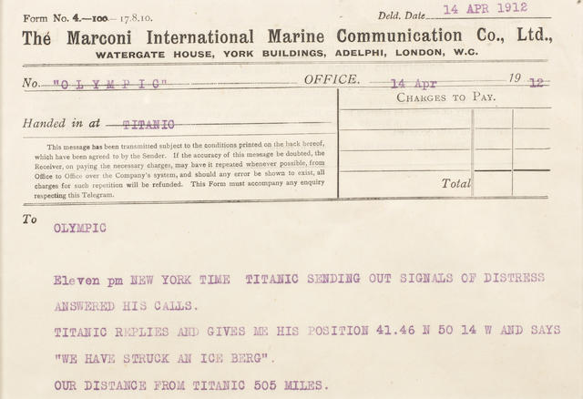 [TITANIC] A Marconi message from R.M.S. Titanic to R.M.S. Olympic  14 April 1912 5-1/2 x 8 ins.(14 x20 cm.) 1