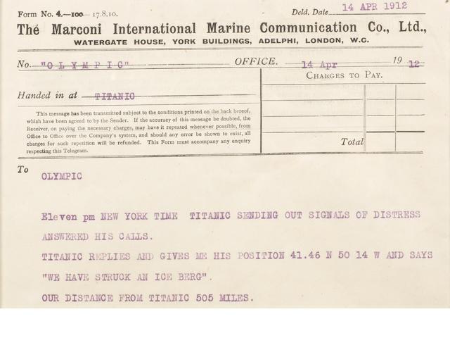 A framed Marconigram, RMS Titanic 5.5x8ins.(14x20cm) 1