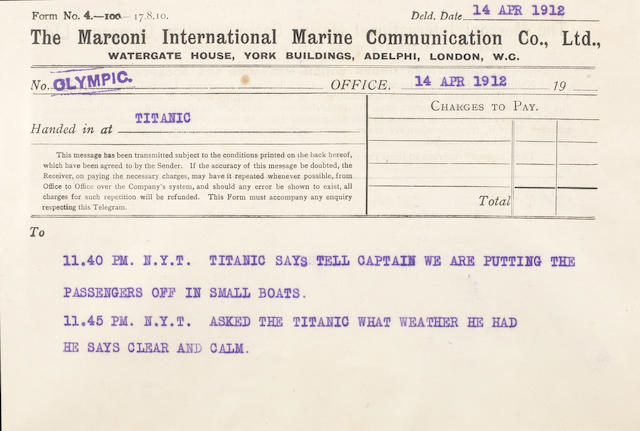 [TITANIC] Three Marconi messages between R.M.S. Titanic and R.M.S. Olympic  14 April 1912 5-1/2 x 8 in.(14 x 20 cm.) each. 3