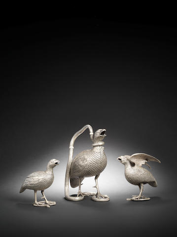 Three silver bird-form Table Ornaments by Oomersi Mawji (O.M.) India, Kutch, Circa 1870? 3