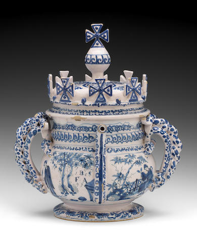 A very rare English delftware posset pot and cover, dated 1697,
