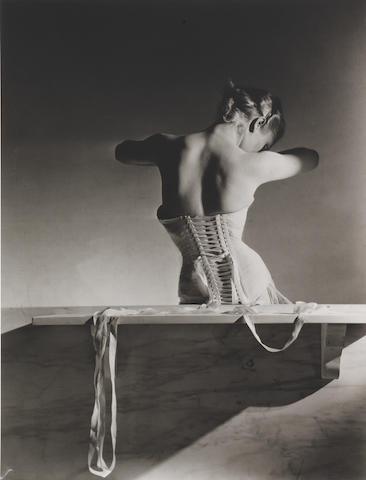Horst P. Horst (German/American, 1906-1999) Mainbocher Corset, Paris, 1939 Paper 35.2 x 27.9cm (13 7/8 x 11in), image 30 x 22.5cm (11 13/16 x 8 7/8in).