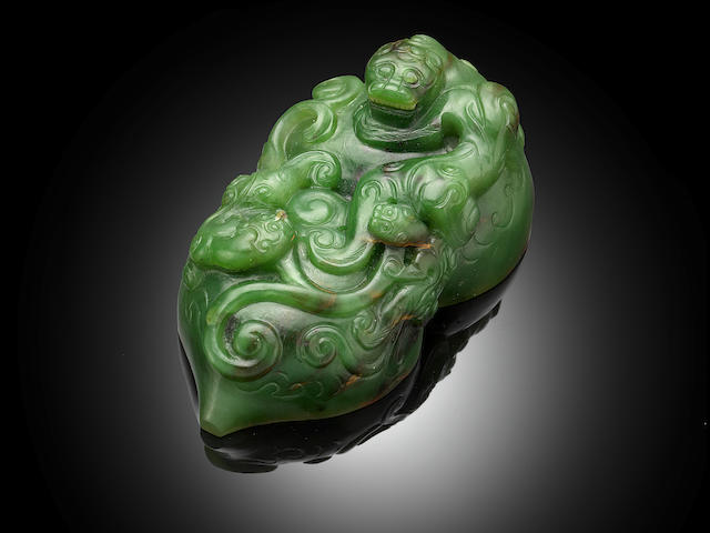 An important Imperial green jade 'San Xi Tang' double-gourd seal Qianlong