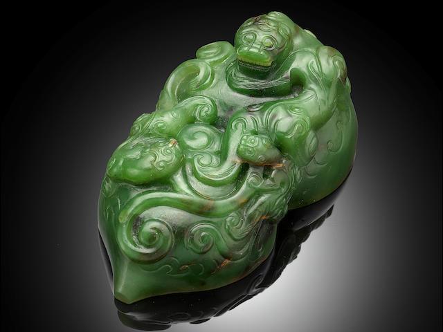 An important Imperial green jade 'San Xi Tang' double-gourd seal Qianlong