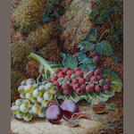 Oliver Clare (British, 1853-1927) Still life with raspberries, grapes and plums
