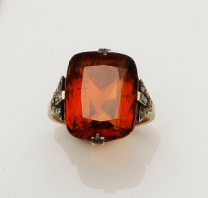 A citrine and diamond dress ring