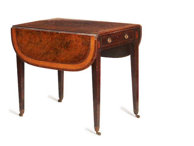 A George III mahogany and satinwood banded Pembroke table