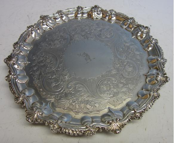 A George IV silver salver,  by John White I,  London 1828,