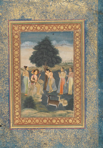 Todi Ragini: a pensive maiden with her attendants, listening to a yogini playing a vina in a landscape, with gazelles in the foreground Delhi, circa 1800-1820