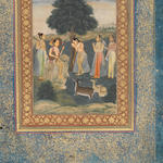 Todi Ragini: ??? A pensive maiden with her attendants, listening to a female musician in a landscape Delhi, circa 1800