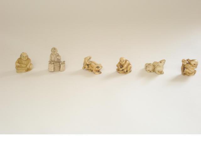 Six various carved netsuke
