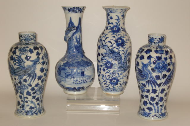 A collection of blue and white Some with four character Kangxi marks but all 19th century