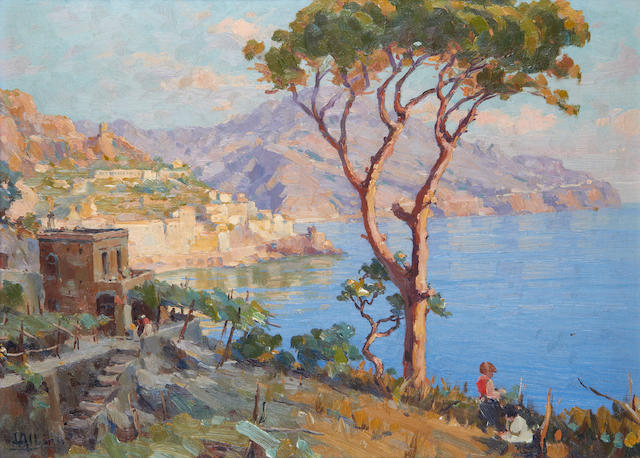 Luca Albino (Italian, 1884-1952) On the Amalfi coast