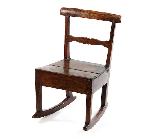 An ash, pine and painted child's rocking chair 19th century